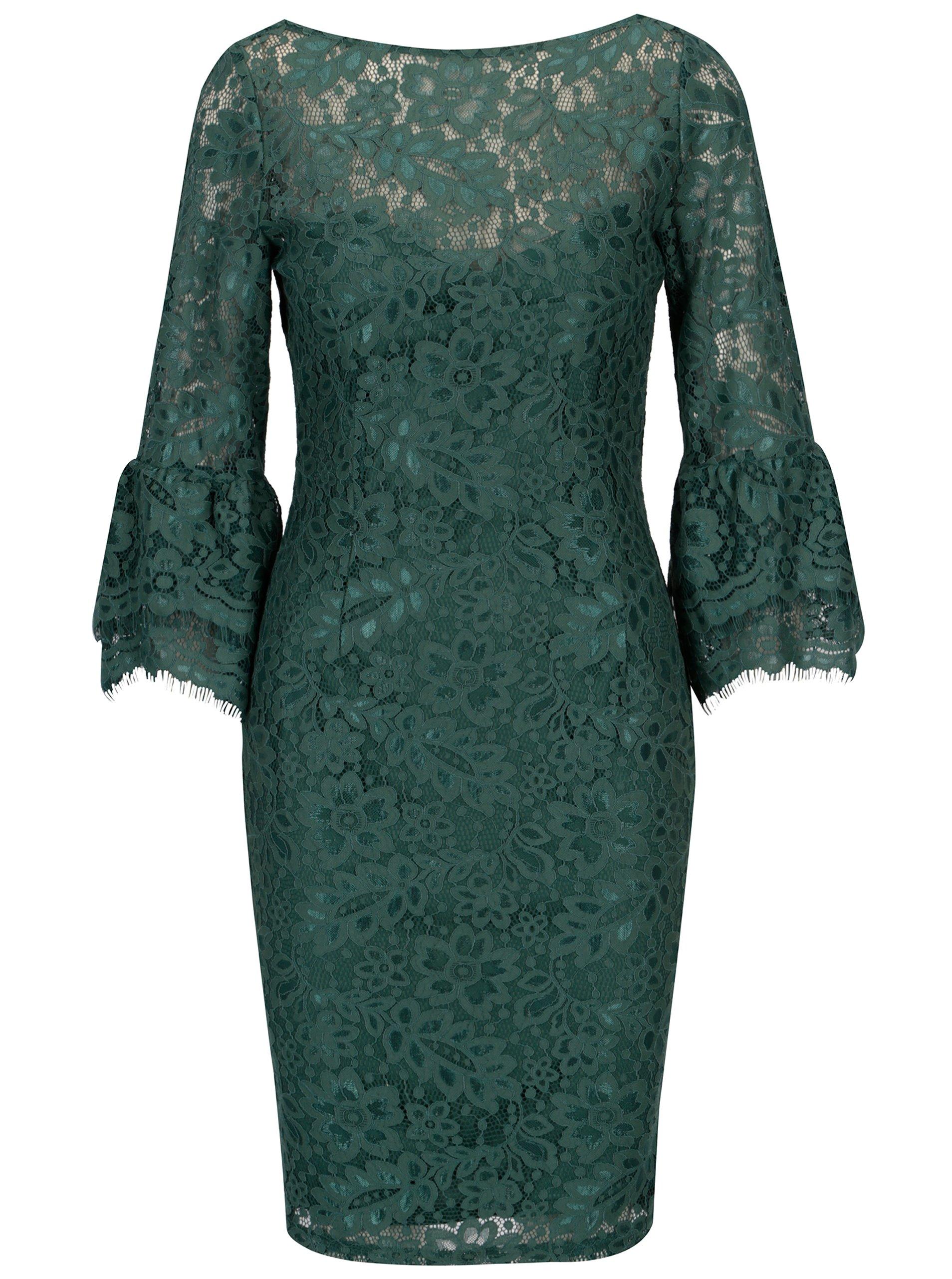 Zelené čipkované šaty s dlhým rukávom Paper Dolls  4b3f908a729