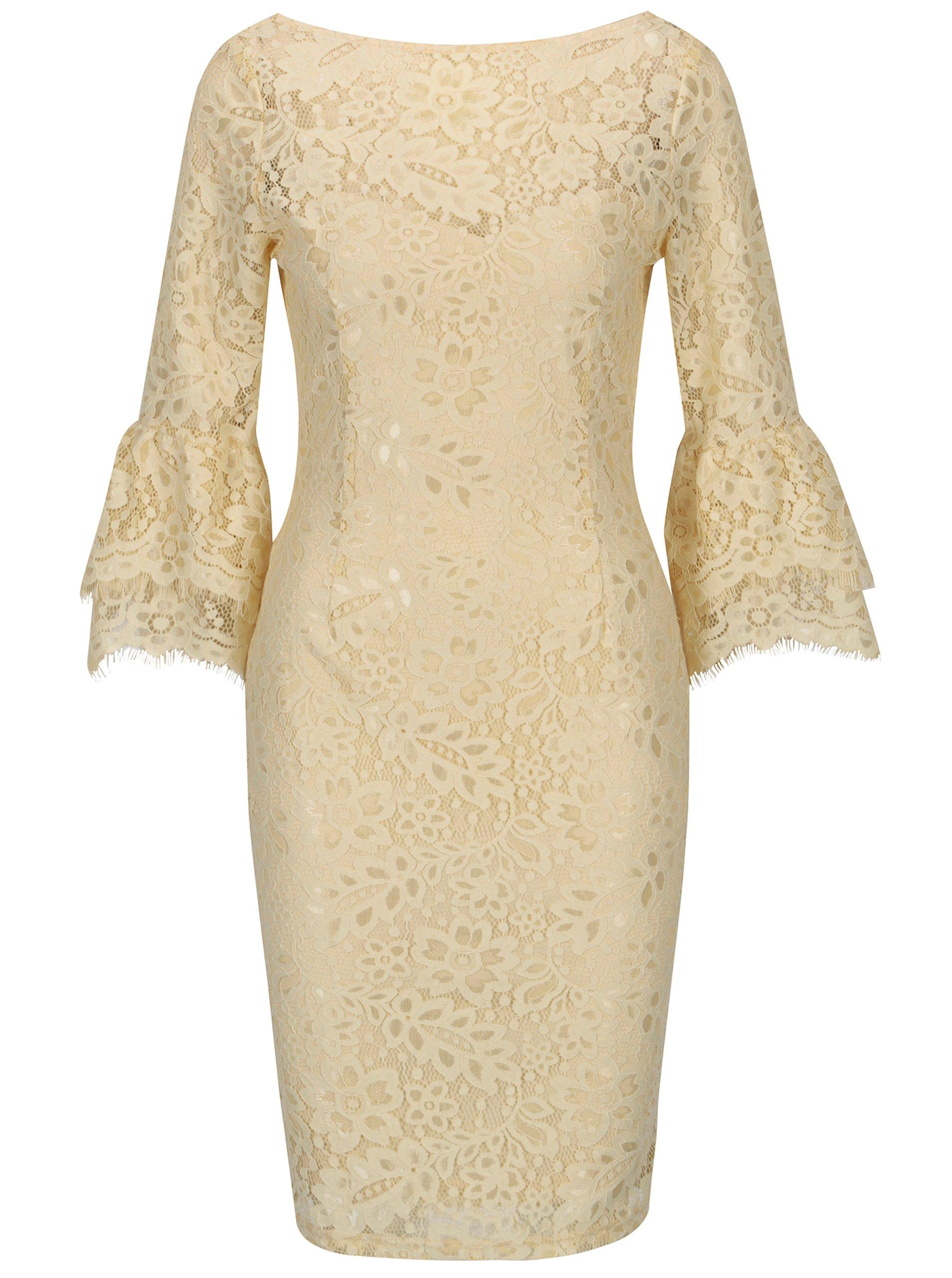 5a193b7c3466 Žlté čipkované šaty so zvonovým rukávom Paper Dolls
