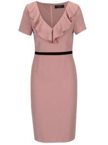 Ružové šaty s volánikmi vo výstrihu Paper Dolls