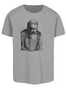 Sivé pánske melírované tričko s potlačou Makia Wilhelm