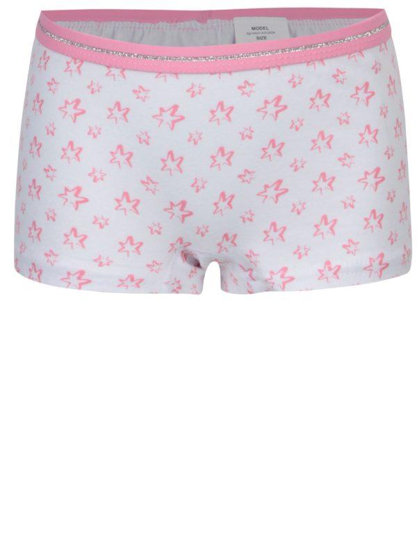 Súprava troch dievčenských vzorovaných nohavičiek v ružovej a bielej farbe 5.10.15.