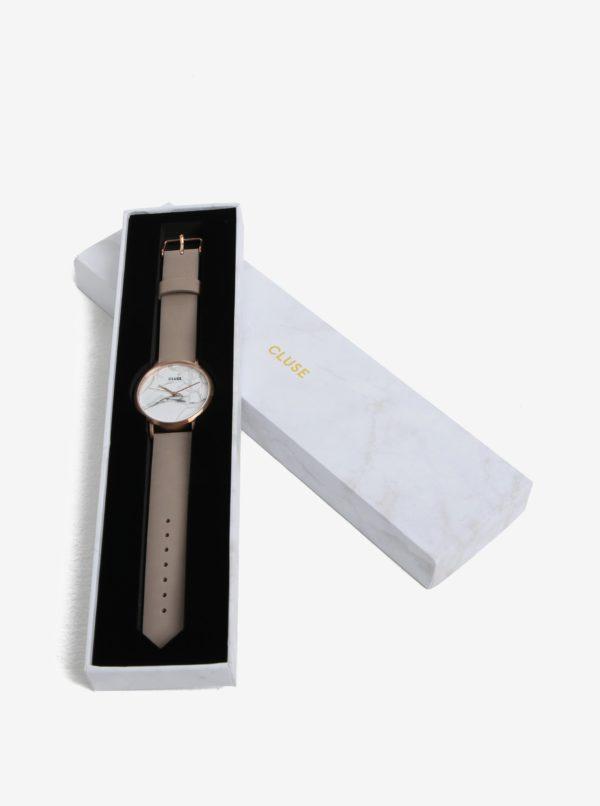 Dámske hodinky v ružovozlatej farbe s koženým remienkom CLUSE