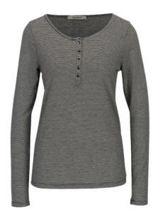 Krémovo-čierne pruhované tričko s dlhým rukávom Haily's Greta