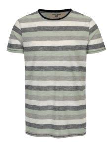 Sivo-zelené pánske pruhované tričko Garcia Jeans