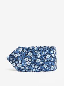 Tmavomodrá kvetovaná kravata Jack & Jones Premium Crussel