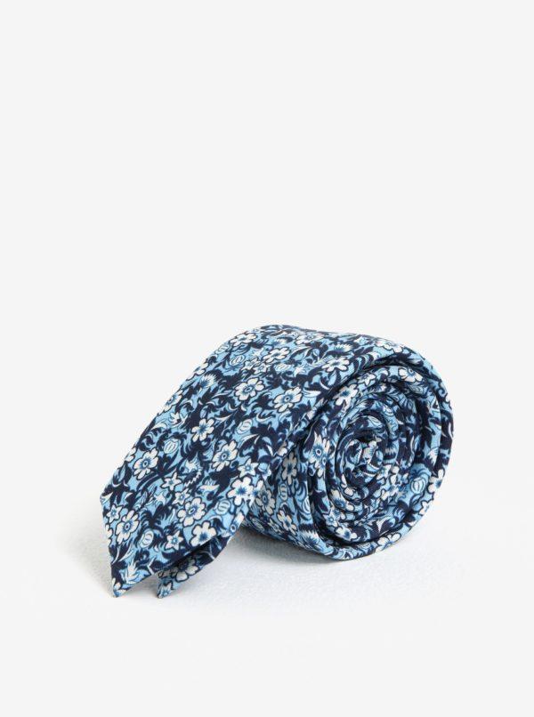 Svetlomodrá kvetovaná kravata Jack & Jones Premium Crussel