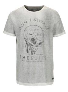 Sivé tričko s potlačou lebky Blend