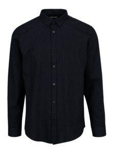 Tmavomodrá vzorovaná slim fit košeľa Selected Homme One Karter