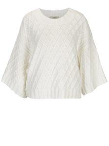 Biely sveter s jemným vzorom a širokými rukávmi Selected Femme Ivy