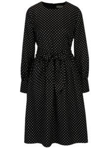 Čierne bodkované šaty so zaväzovaním Selected Femme Millado
