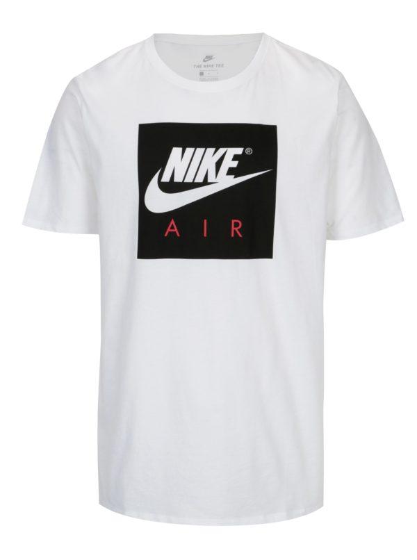Biele pánske tričko s čiernou potlačou Nike