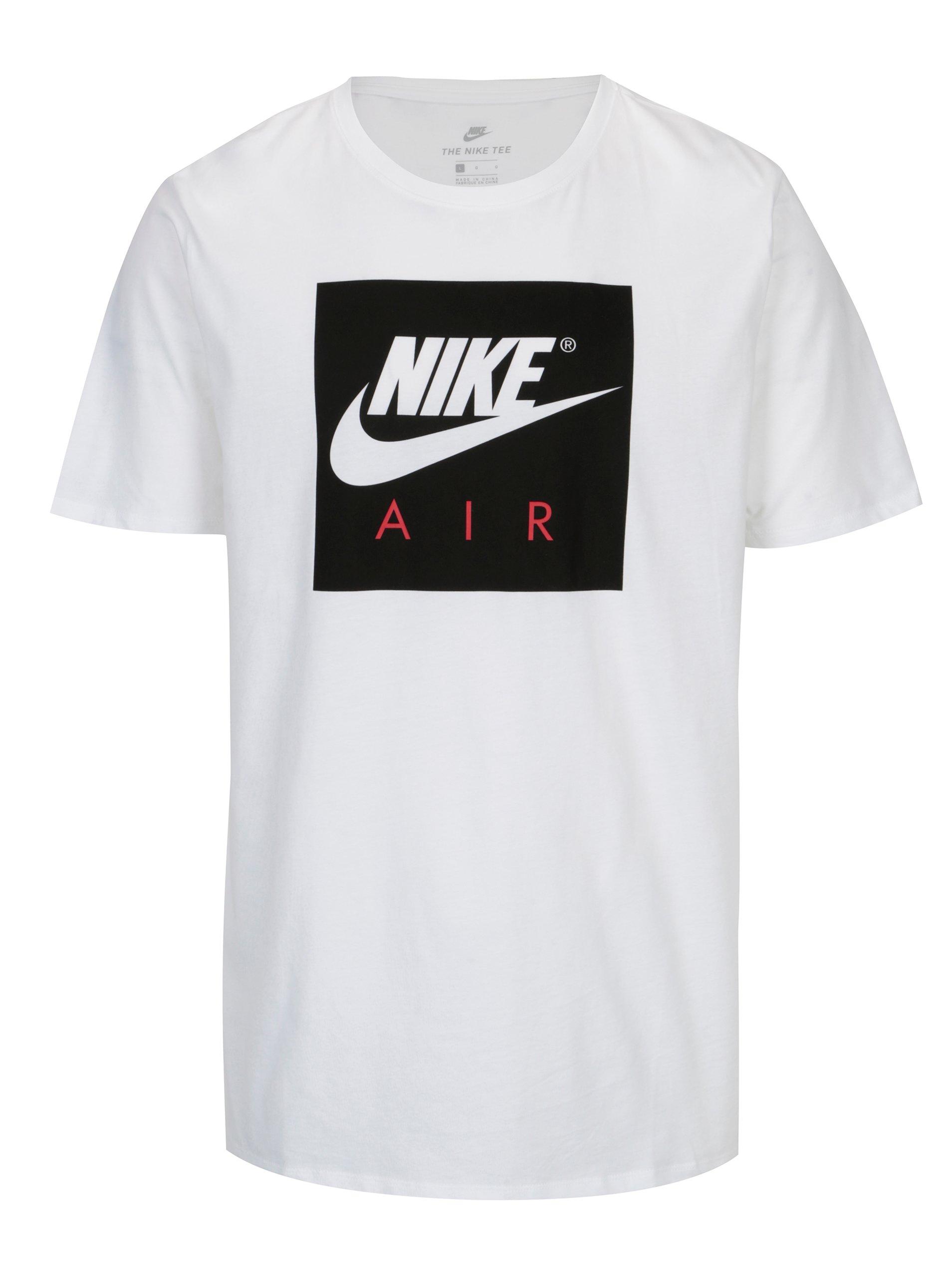 3e7f20a3f7ea Biele pánske tričko s čiernou potlačou Nike
