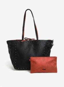 4de056a4d0 Čierno-tehlový obojstranný shopper s listovou kabelkou 2v1 Desigual Portland