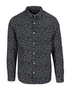 Tmavomodrá vzorovaná slim fit košeľa ONLY & SONS Newton
