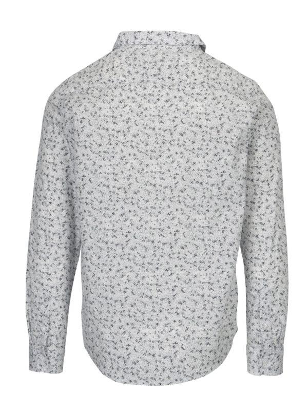 Biela vzorovaná slim fit košeľa ONLY & SONS Newton