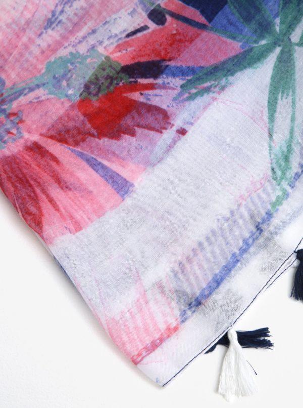 Bielo-modrá vzorovaná šatka so strapcami Desigual Gardenette