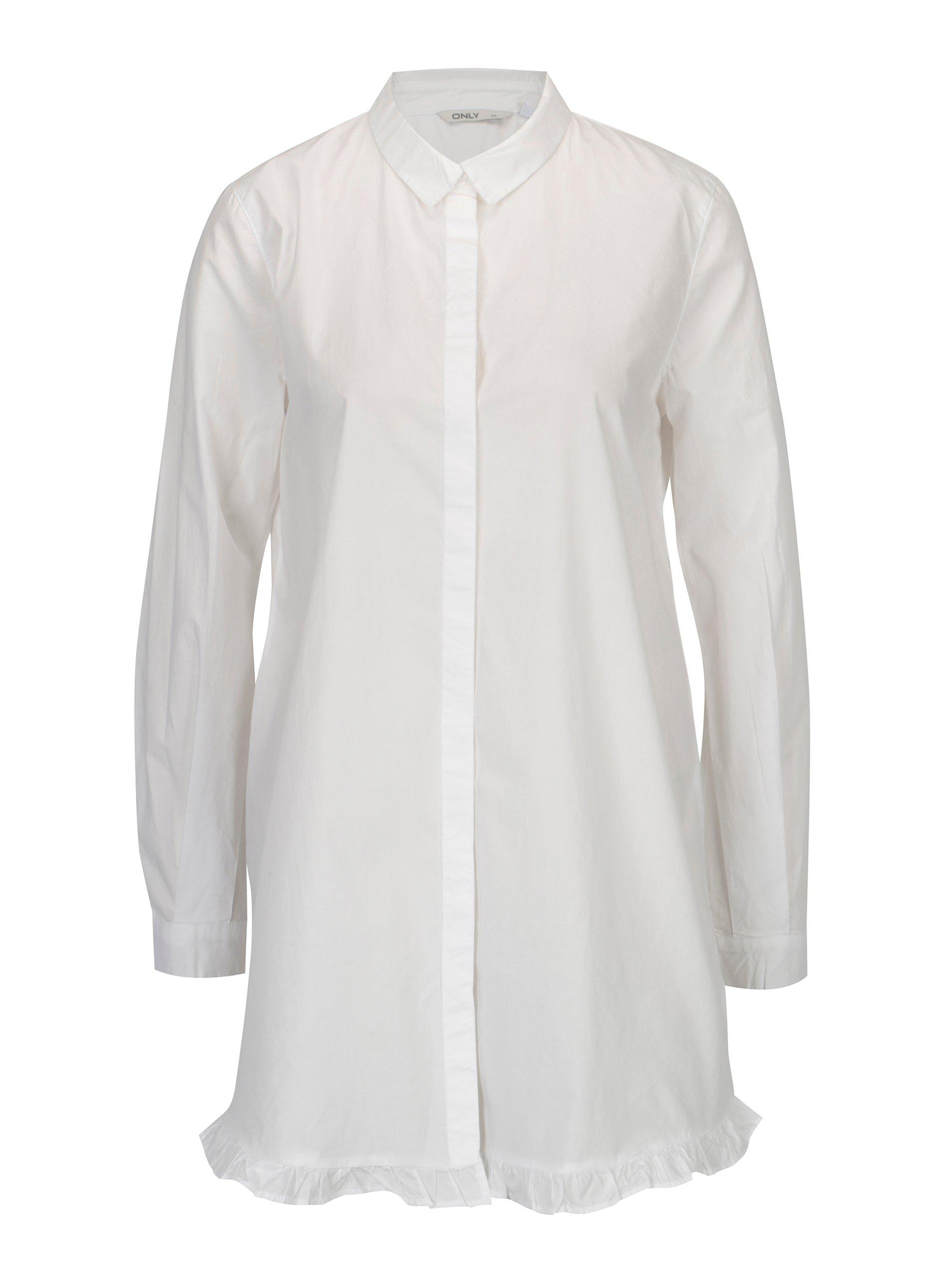 93f48a09d7a7 Biela dlhá áčková košeľa ONLY Monique
