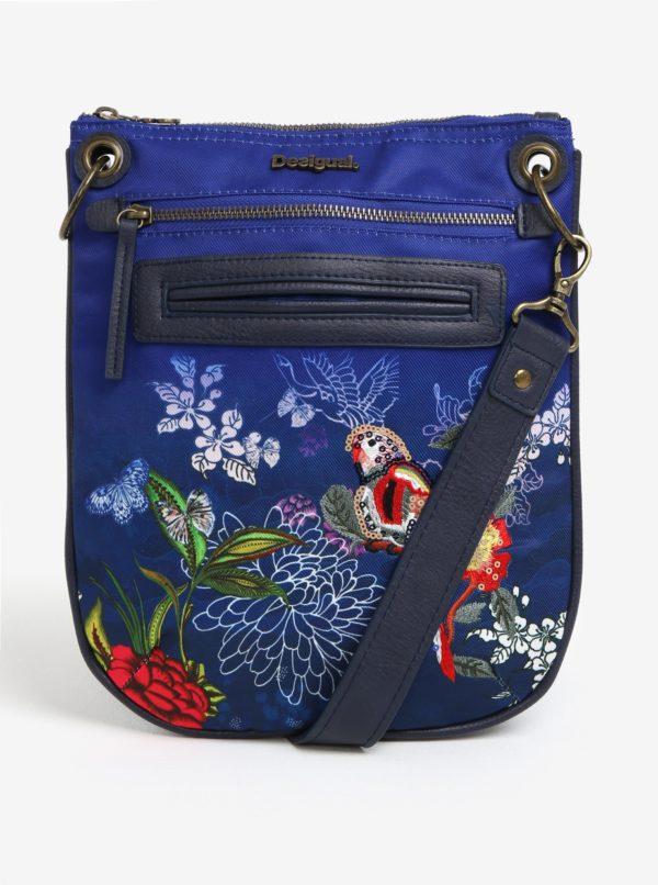 Modrá crossbody kabelka s výšivkou papagája Desigual Bandolera