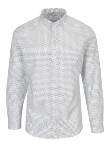 Biela vzorovaná slim fit košeľa Jack & Jones Premium Samson