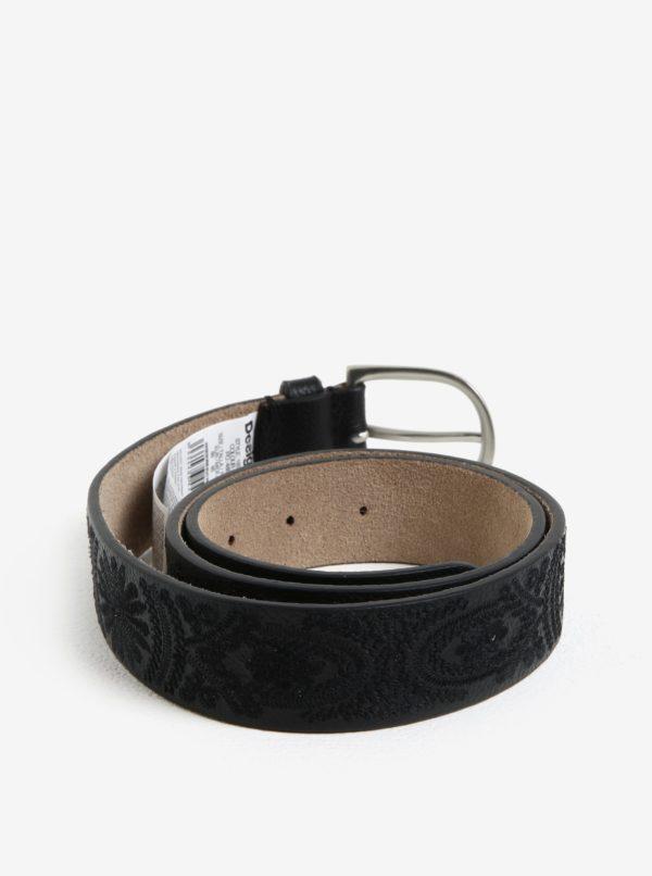 Čierny kožený opasok s výšivkou Desigual Basic