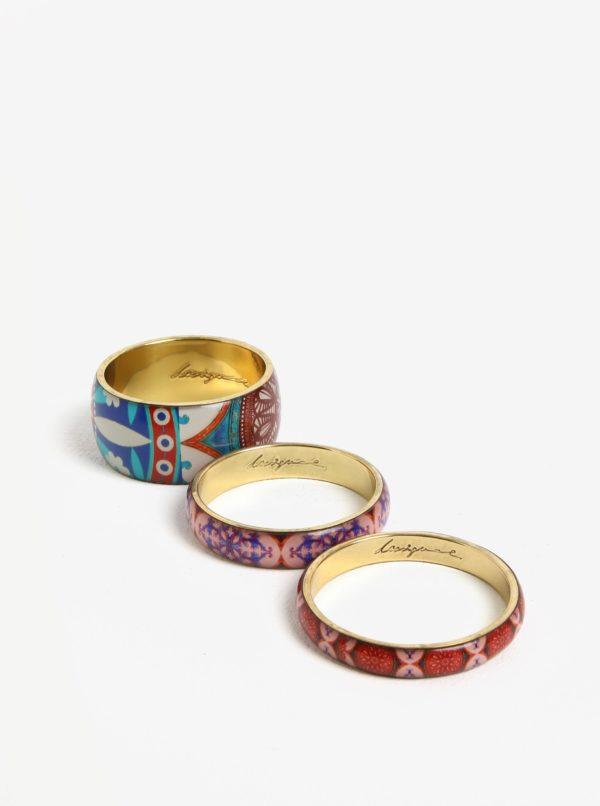 Súprava troch náramkov v ružovej, modrej a zlatej farbe Desigual Little