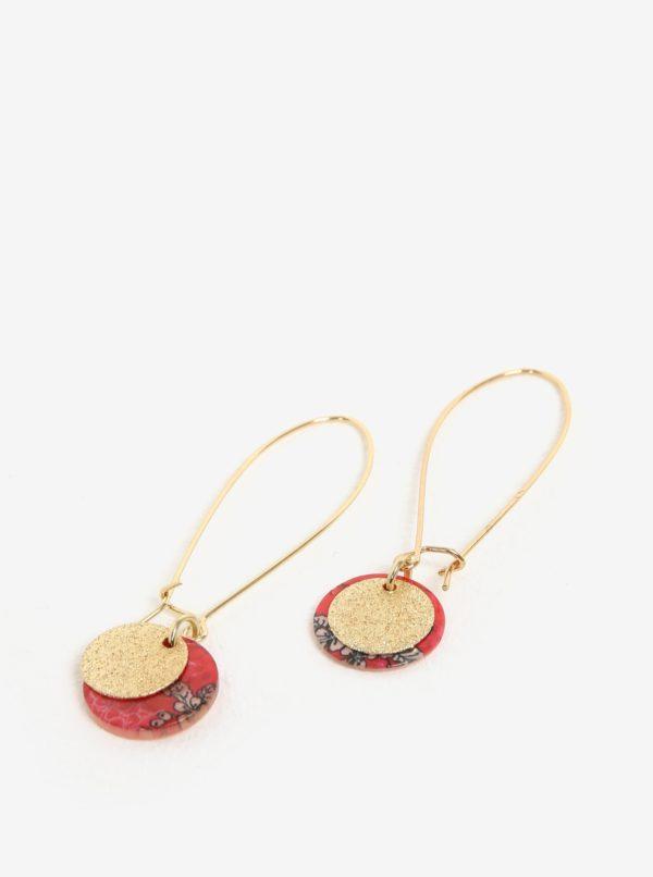 Červené náušnice s mincou v zlatej farbe Desigual Colette