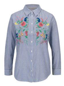 Modrá pruhovaná košeľa s výšivkou Dorothy Perkins Petite