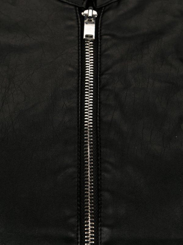 Čierna koženková bunda Dorothy Perkins Petite  b5ed6444487