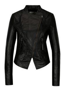 Čierna kožená bunda s asymetrickým zipsom VILA Tully