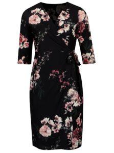 Čierne kvetované zavinovacie šaty s 3/4 rukávom Dorothy Perkins Curve