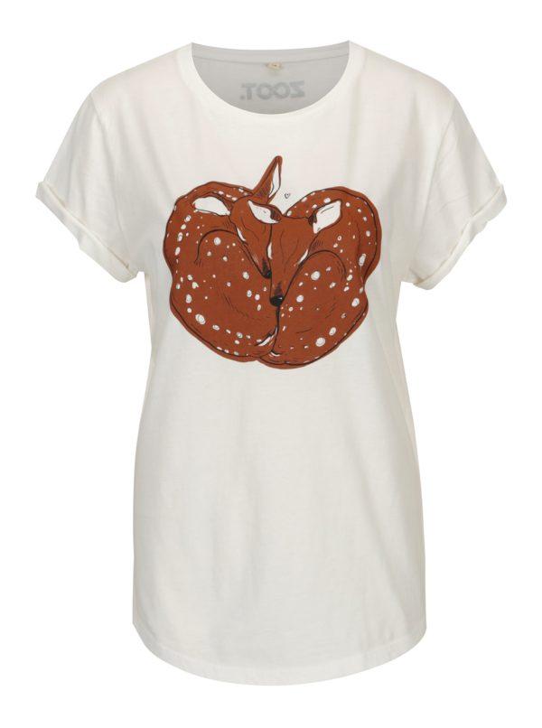 Krémové dámske tričko s potlačou ZOOT Original Deer love