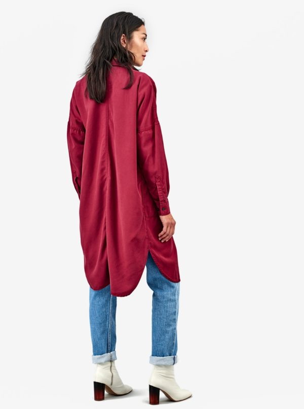 Vínové košeľové šaty s dlhým rukávom Kings of Indigo Juliana