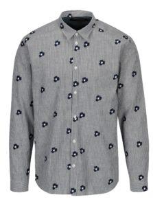 Krémovo-modrá pruhovaná košeľa s výšivkou SUIT Ralph