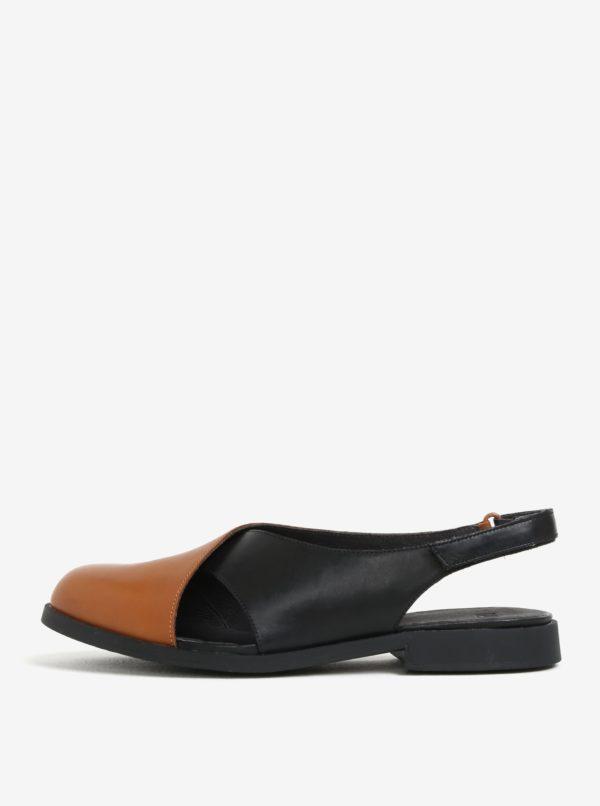Čierno-hnedé dámske kožené sandále s uzavretou špičkou Camper Twins