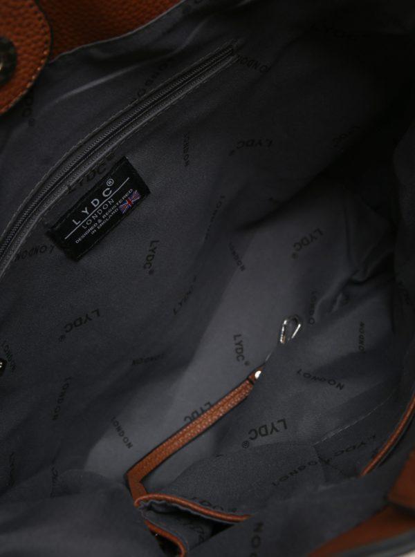 Hnedá vaková kabelka s popruhom s kvetinovými motívmi LYDC