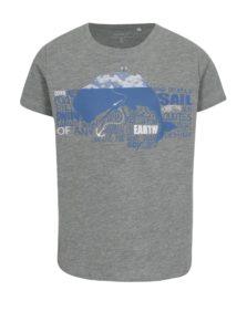 Sivé melírované chlapčenské tričko s potlačou name it Vux