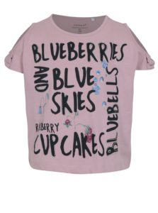 Svetlofialové dievčenské tričko s prestrihmi na ramenách name it Hlower