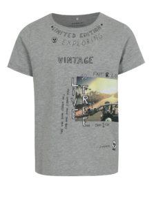 Sivé melírované chlapčenské tričko s potlačou name it Hector