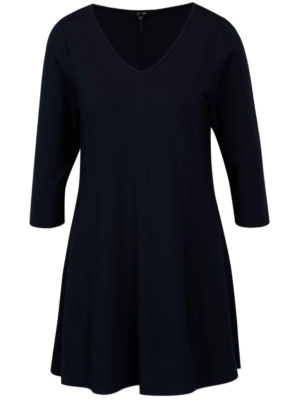 Tmavomodré šaty s véčkovým výstrihom Yest