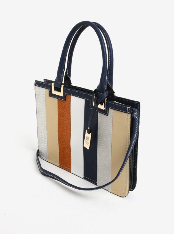 Modro-krémová pruhovaná kabelka Bessie London  70b5d584af0