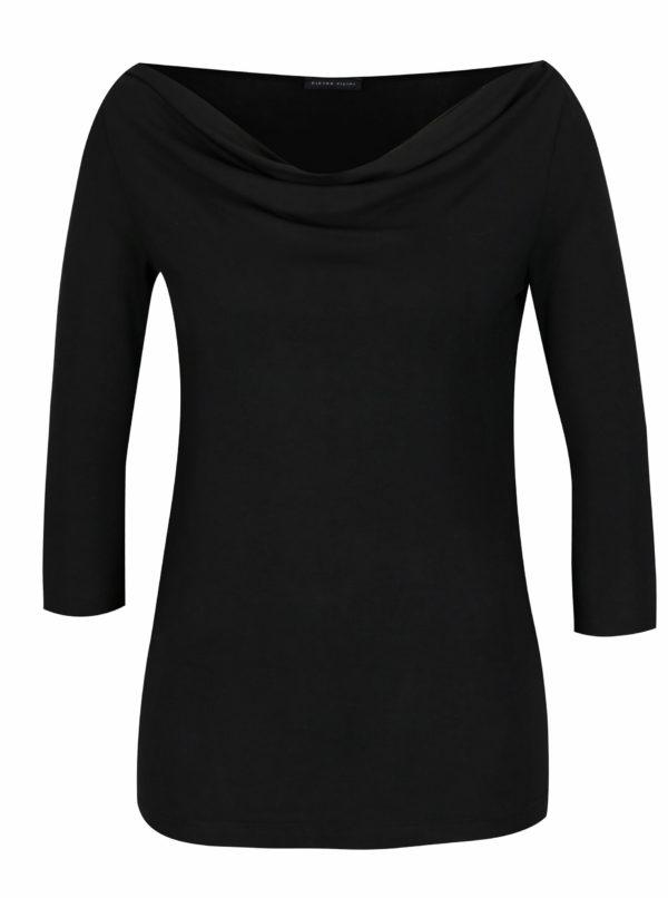 Čierne tričko s 3/4 rukávom a riasením vo výstrihu Pietro Filipi