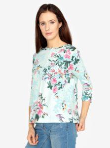 Mentolové kvetované tričko s 3/4 rukávom M&Co
