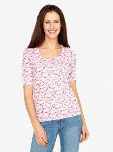 Svetloružové vzorované tričko M&Co