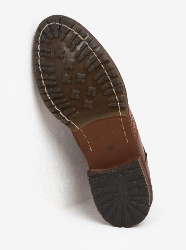 Hnedé kožené brogue členkové topánky Burton Menswear London