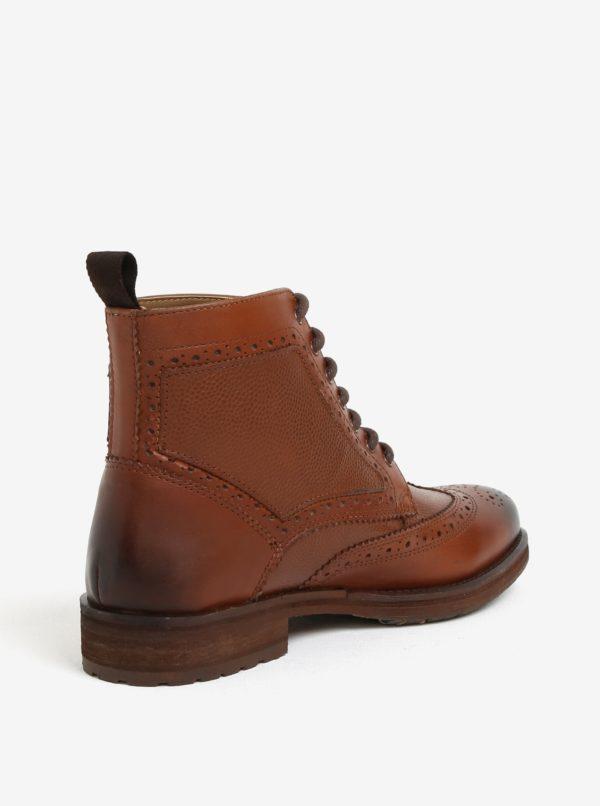 4dbd16a5c Hnedé kožené brogue členkové topánky Burton Menswear London | Moda.sk