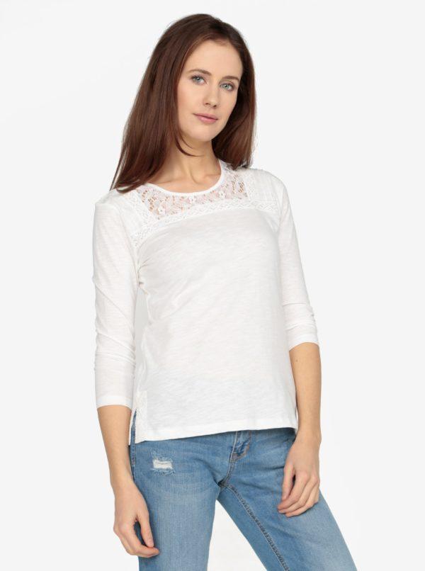 Krémové tričko s čipkovanými detailmi M&Co