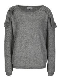 Sivý melírovaný sveter s volánmi a okrúhlym výstrihom Blendshe Laura