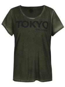 Kaki oversize tričko s potlačou Blendshe Oil