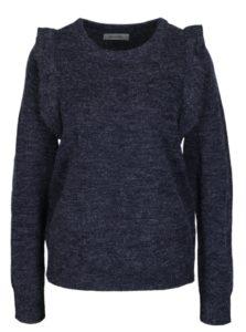 Tmavomodrý melírovaný sveter s volánmi Blendshe San