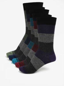 Súprava piatich párov pruhovaných ponožiek Burton Menswear London